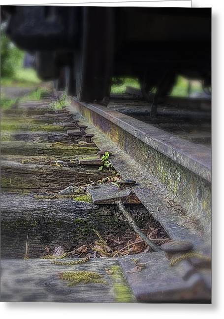 Cargo Train Greeting Cards - Old Steel Railroad Tracks Greeting Card by Steve Hurt