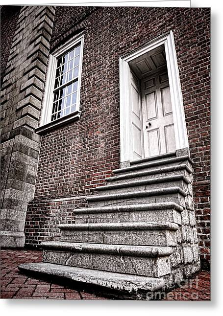 Old Panelled Door Greeting Cards - Old Steps and Door Greeting Card by Olivier Le Queinec