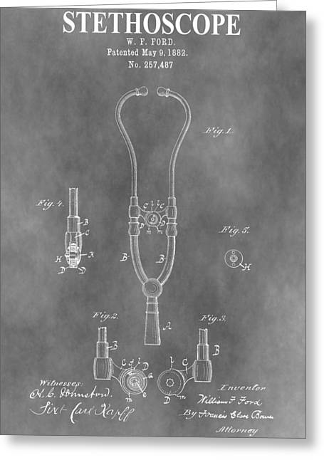 Concern Mixed Media Greeting Cards - Old Stethoscope Patent Greeting Card by Dan Sproul