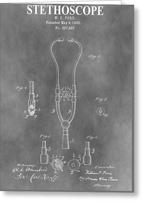 Diagnosis Greeting Cards - Old Stethoscope Patent Greeting Card by Dan Sproul