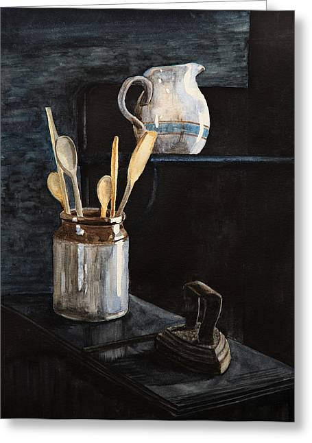 Old Pitcher Paintings Greeting Cards - Old Still Life Greeting Card by Masha Batkova