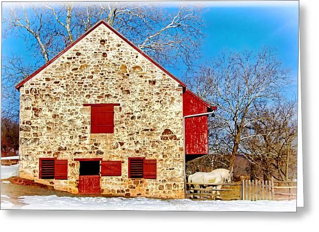 Restored Plantation Greeting Cards - Old Stone Barn Greeting Card by Carolyn Derstine