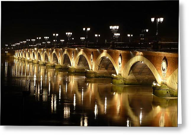 Night Lamp Greeting Cards - Old stone bridge Greeting Card by Anthony Dezenzio