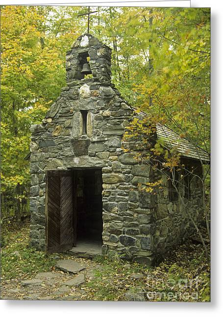 Vermont Village Greeting Cards - Old Stone Chapel At Trapp Family Lodge Greeting Card by Ellen Thane
