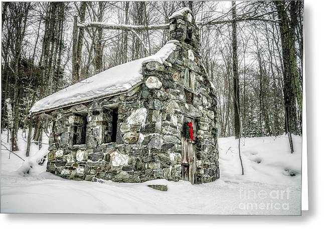 Winter Travel Greeting Cards - Old Stone Chapel Stowe Vermont Greeting Card by Edward Fielding