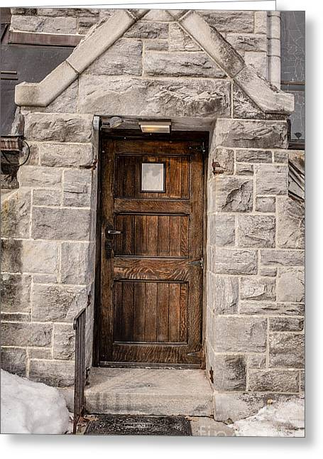 Stepping Stones Photographs Greeting Cards - Old Stone Church Door Greeting Card by Edward Fielding