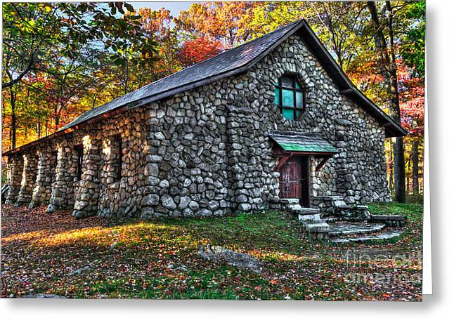 Stone House Greeting Cards - Old Stone Lodge Greeting Card by Anthony Sacco