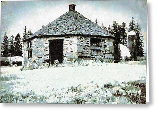 Schoolhouse Greeting Cards - Old Stone Schoolhouse in Winter - South Canaan Greeting Card by Janine Riley