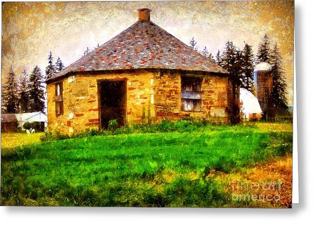 The Country School Greeting Cards - Old Stone Schoolhouse - South Canaan Greeting Card by Janine Riley