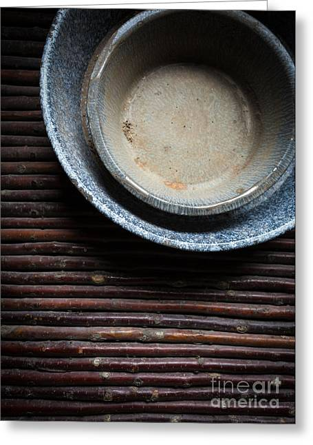 Stoneware Photographs Greeting Cards - Old stoneware bowls Greeting Card by Edward Fielding