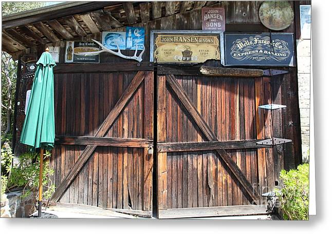 Nostalgic Sign Greeting Cards - Old Storage Shed At the Swiss Hotel Sonoma California 5D24457 Greeting Card by Wingsdomain Art and Photography