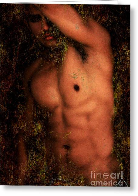 Bodybuilder Digital Greeting Cards - Old Story 1 Greeting Card by Mark Ashkenazi