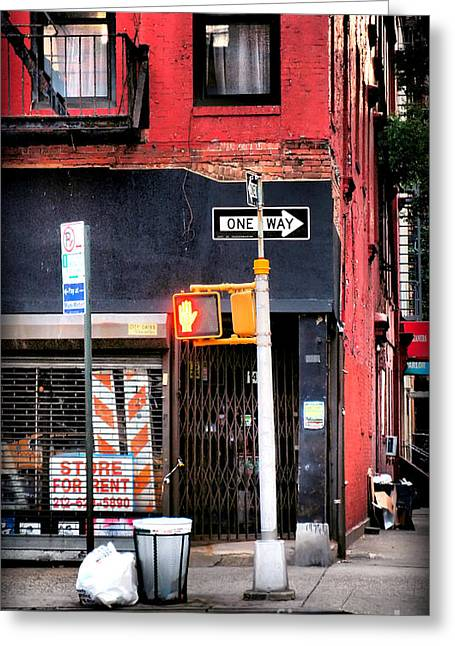 Interior Scene Greeting Cards - Old Street Corner with Brick Building Greeting Card by Miriam Danar