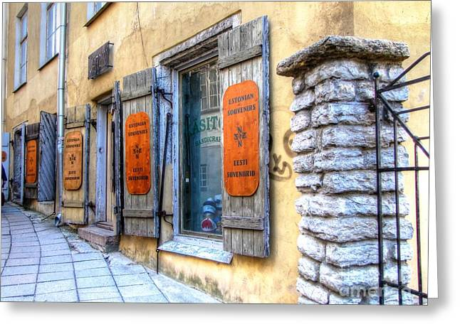 Old Pyrography Greeting Cards - old street Tallin Greeting Card by Yury Bashkin