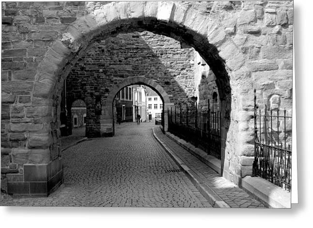 Limburg Greeting Cards - Old street with two ports in Maastricht Greeting Card by Jolly Van der Velden