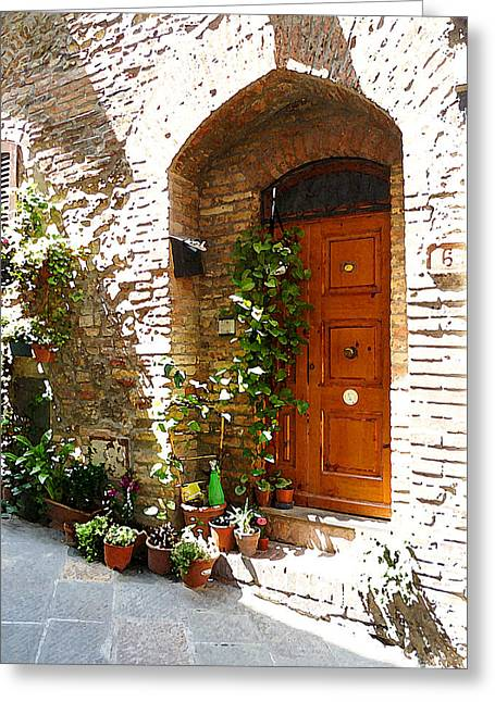 Old Churches Greeting Cards - Old Streets Of Tuscany San Gimignano Greeting Card by Irina Sztukowski