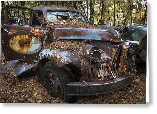 Old Studebaker Truck Greeting Card by Debra and Dave Vanderlaan