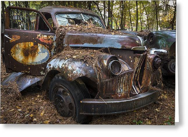 Caddy Greeting Cards - Old Studebaker Truck Greeting Card by Debra and Dave Vanderlaan