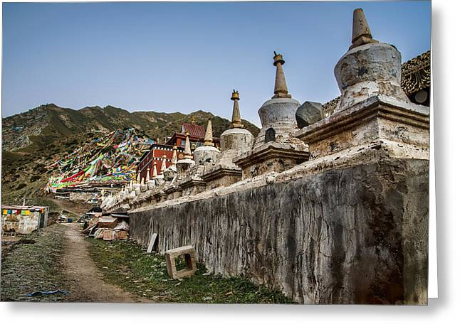 Tibetan Buddhism Greeting Cards - Old Stupas Greeting Card by James Wheeler
