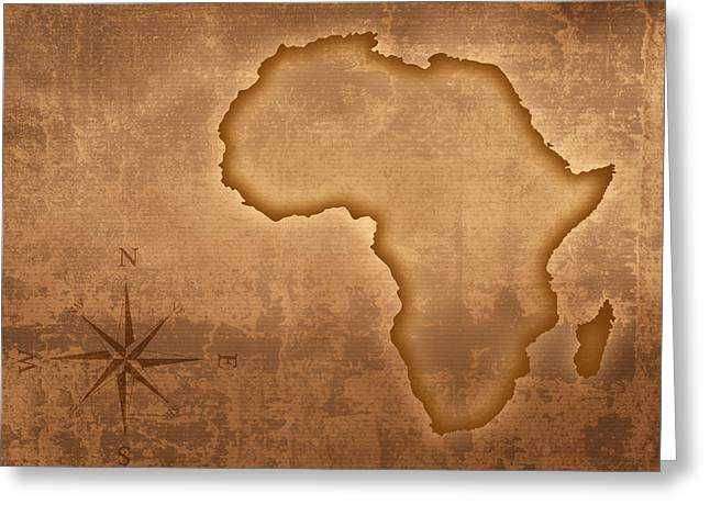 Rustic Digital Greeting Cards - Old style Africa map Greeting Card by Johan Swanepoel