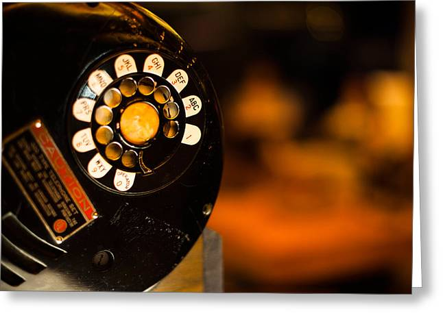 Lounge Photographs Greeting Cards - Old-style Dial Telephone In Lounge Greeting Card by Panoramic Images