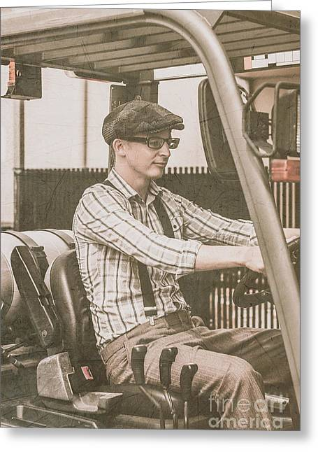 Driving Machine Greeting Cards - Old style warehouse worker driving forklift Greeting Card by Ryan Jorgensen
