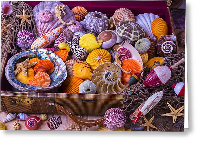 Overflow Greeting Cards - Old Suitcase With Seashells Greeting Card by Garry Gay