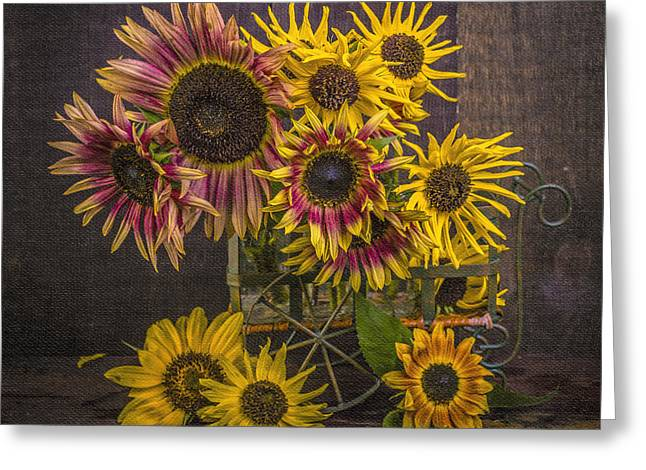 Floral Fine Art Photography Greeting Cards - Old Sunflowers Greeting Card by Edward Fielding