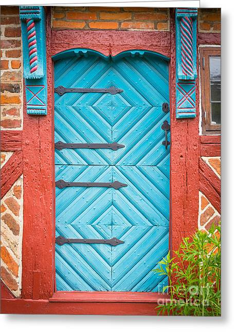 Europa Greeting Cards - Old Swedish Door Greeting Card by Inge Johnsson