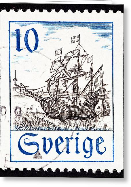 Postage Stamp Greeting Cards - Old Swedish sailing ship in the open ocean Greeting Card by Jim Pruitt