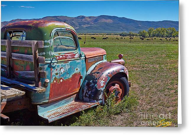 Taos Greeting Cards - Old Taos Pickup Truck Greeting Card by Matt Suess