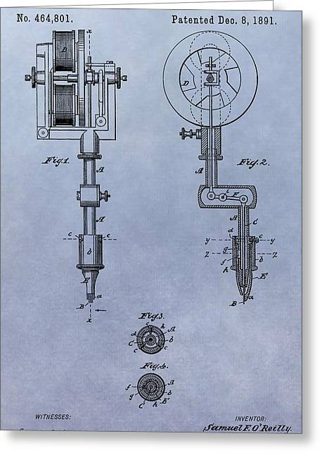 Tattoo Artist Greeting Cards - Old Tattoo Gun Patent Greeting Card by Dan Sproul
