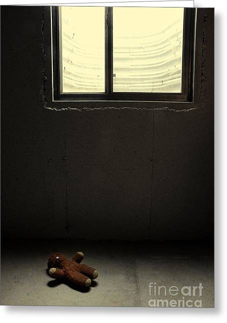 Button Nose Greeting Cards - Old Teddy Bear in Basement Greeting Card by Birgit Tyrrell