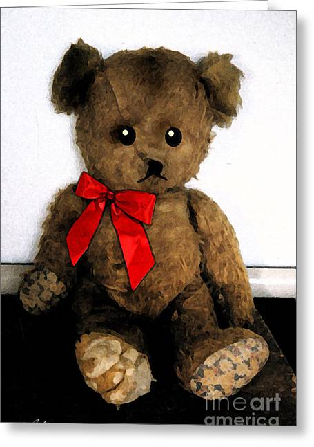 Ventura California Greeting Cards - Old Teddy Bear in Red Bow Greeting Card by Cathy Peterson