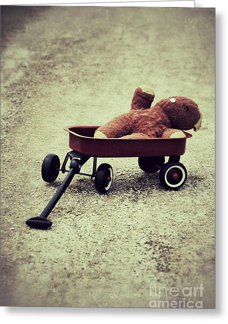 Button Nose Greeting Cards - Old Teddy Bear in Red Wagon Greeting Card by Birgit Tyrrell