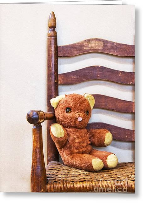 Button Nose Greeting Cards - Old Teddy Bear Sitting in Chair Greeting Card by Birgit Tyrrell