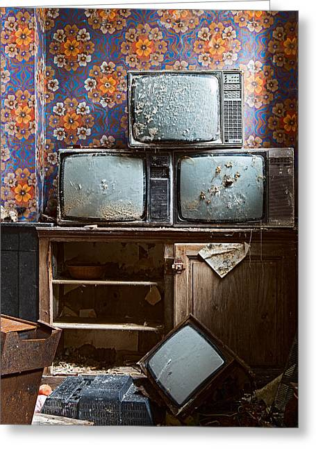 1980s Photographs Greeting Cards - Old Television Greeting Card by Dirk Ercken