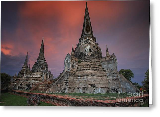 Ayuthaya Greeting Cards - Old Temple wat Monkonbapit of Ayuthaya Greeting Card by Anek Suwannaphoom