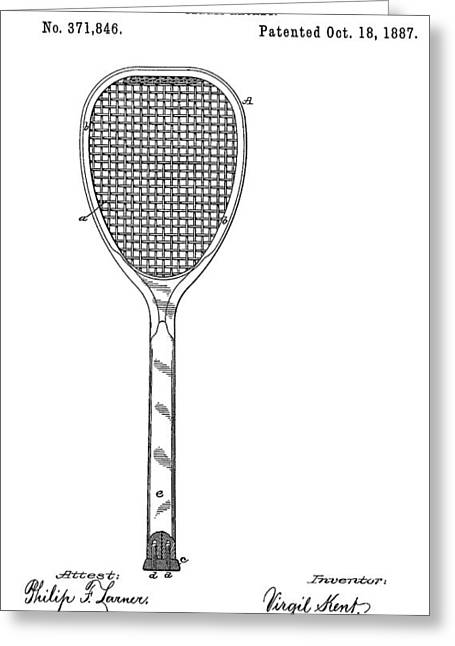 Tennis Drawings Greeting Cards - Old Tennis Racket Patent Greeting Card by Dan Sproul
