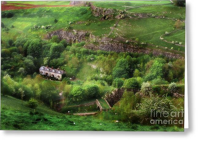 Old Country Roads Mixed Media Greeting Cards - Old Terrace Houses Found Hidden In The Peak District - England Greeting Card by Michael Braham