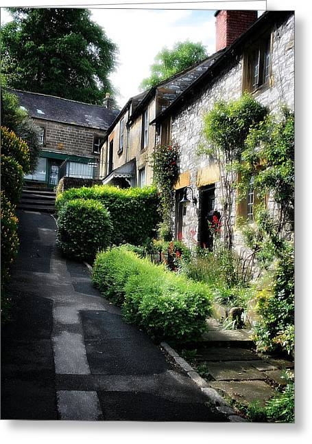 Garden Scene Digital Art Greeting Cards - Old Terrace Houses - Peak District - England Greeting Card by Michael Braham