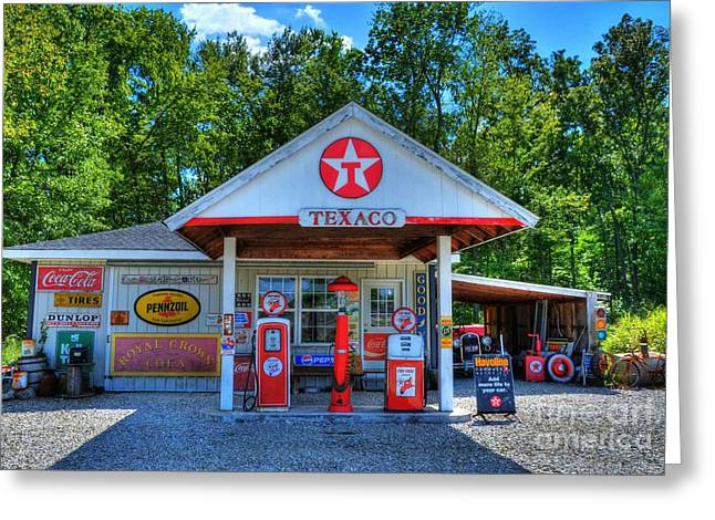 Rural Indiana Photographs Greeting Cards - Old Texaco Station Greeting Card by Mel Steinhauer