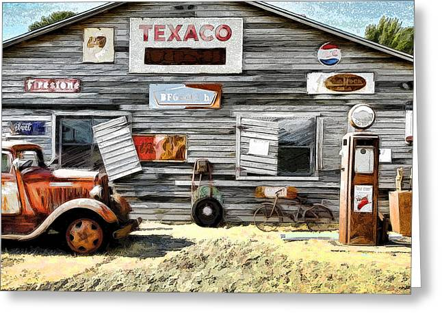 1950 Merc Greeting Cards - Old Texaco Greeting Card by Steve McKinzie