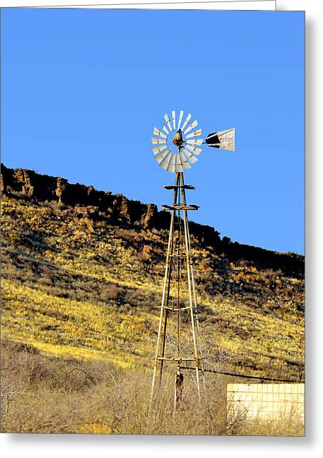 Windmills Greeting Cards - Old Texas Farm Windmill Greeting Card by Christine Till