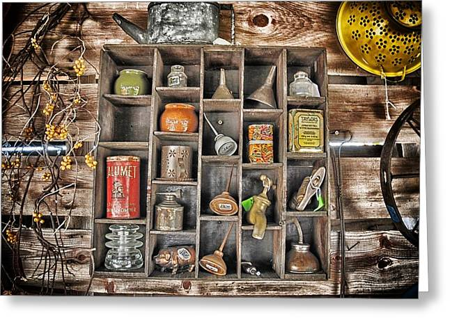 Junk Mixed Media Greeting Cards - Old Things 3 Greeting Card by Todd and candice Dailey
