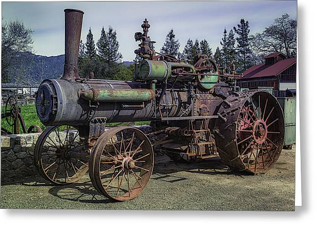 Implement Greeting Cards - Old Threshing Machine Greeting Card by Garry Gay