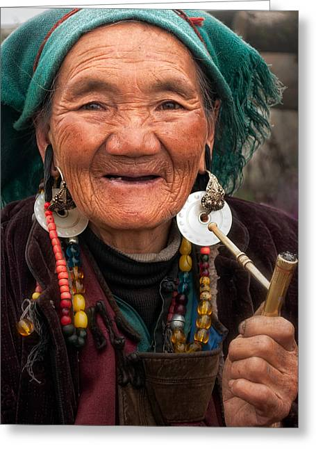 Holy Ring Greeting Cards - Old Tibetan Woman Greeting Card by James Wheeler