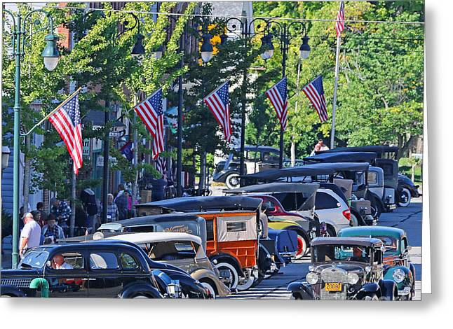 Rally Greeting Cards - Old Time Car Rally Grand Rapids Ohio 0483 Greeting Card by Jack Schultz