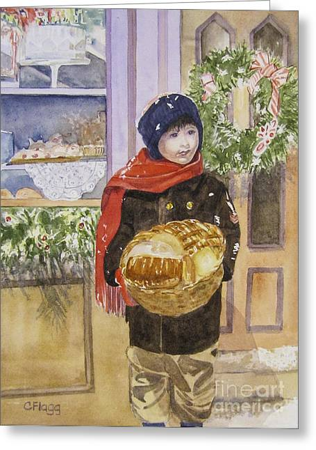 Jordan Paintings Greeting Cards - Old Time Christmas Greeting Card by Carol Flagg