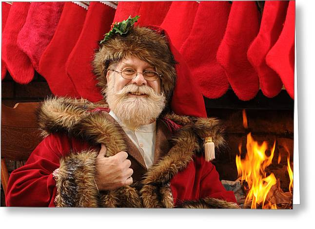 Old Saint Nick Greeting Cards - Old Time Christmas Greeting Card by Don Wolf